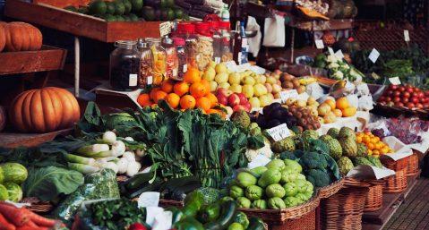 Farmers market vegetables fruit