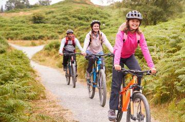 friends family riding bikes