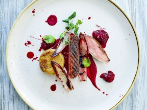 Roast Duck with beetroot sauce