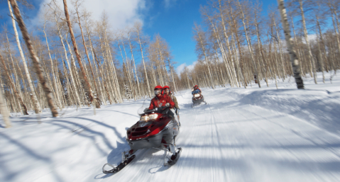 Snowmobiling in the snow beautiful scenery (1)
